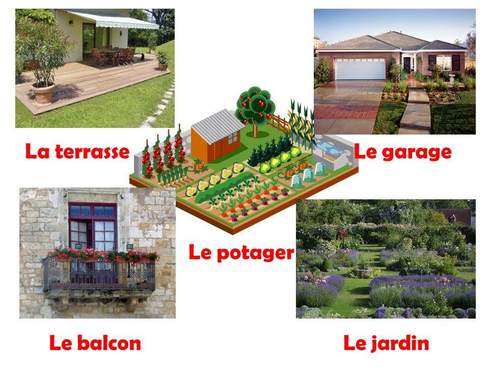La terrasseLe garage Le balconLe jardin Le potager