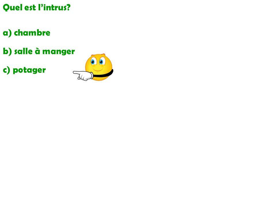 Quel est lintrus? a) chambre b) salle à manger c) potager