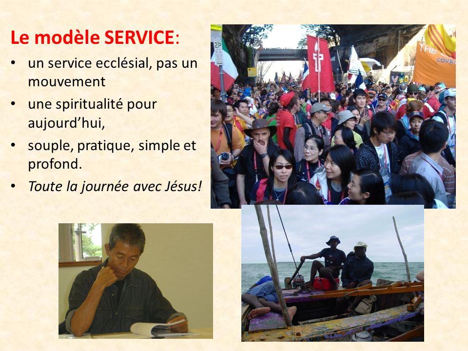 Le modèle SERVICE: un service ecclésial, pas un mouvement une spiritualité pour aujourdhui, souple, pratique, simple et profond. Toute la journée avec