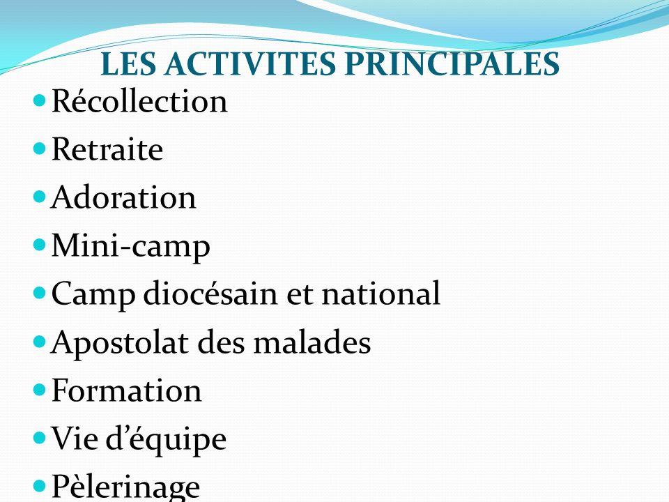 LES ACTIVITES PRINCIPALES Récollection Retraite Adoration Mini-camp Camp diocésain et national Apostolat des malades Formation Vie déquipe Pèlerinage