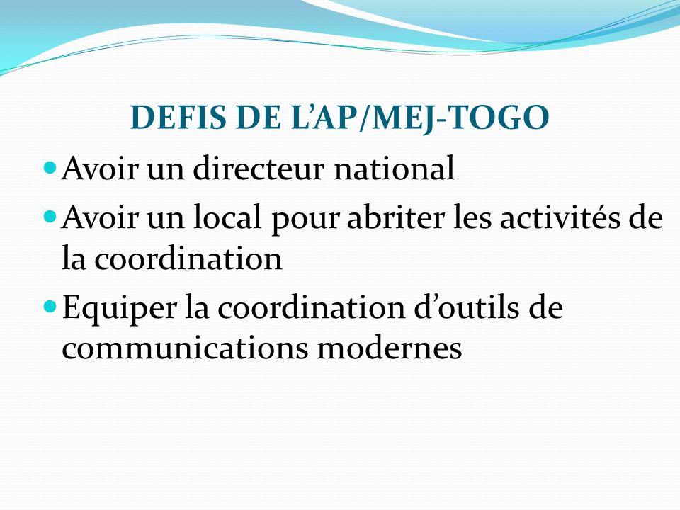 DEFIS DE LAP/MEJ-TOGO Avoir un directeur national Avoir un local pour abriter les activités de la coordination Equiper la coordination doutils de comm