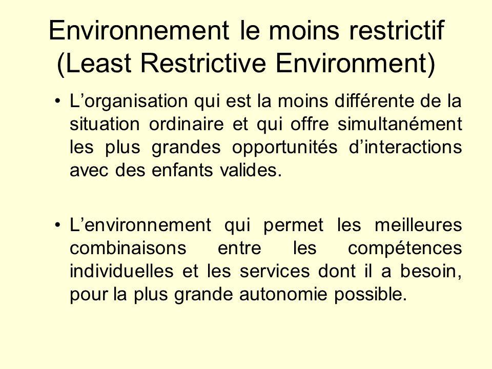 Environnement le moins restrictif (Least Restrictive Environment) Lorganisation qui est la moins différente de la situation ordinaire et qui offre sim