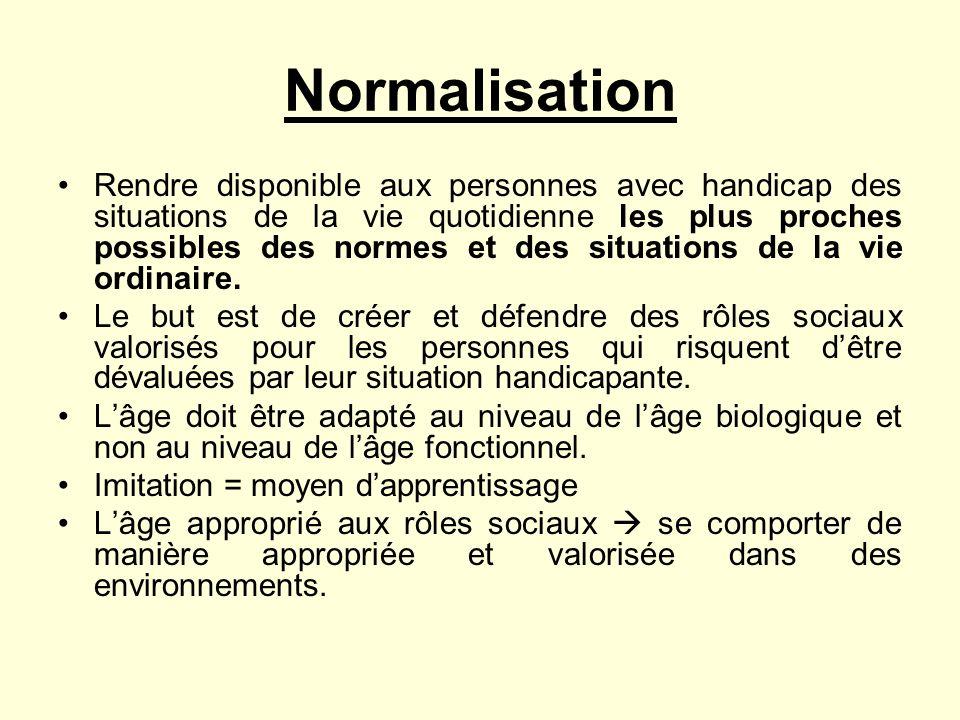 Normalisation Rendre disponible aux personnes avec handicap des situations de la vie quotidienne les plus proches possibles des normes et des situatio
