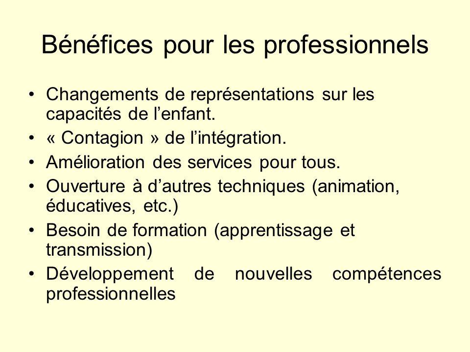 Bénéfices pour les professionnels Changements de représentations sur les capacités de lenfant. « Contagion » de lintégration. Amélioration des service