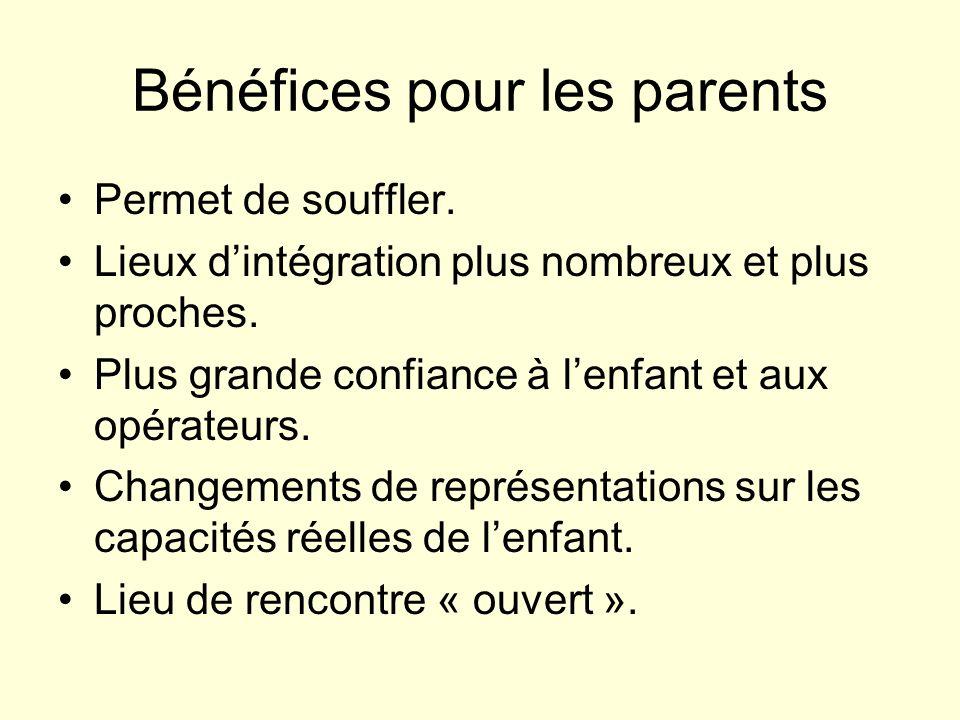 Bénéfices pour les parents Permet de souffler. Lieux dintégration plus nombreux et plus proches. Plus grande confiance à lenfant et aux opérateurs. Ch