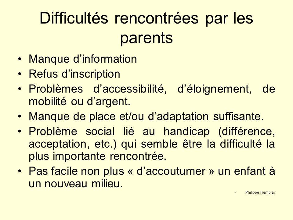 Difficultés rencontrées par les parents Manque dinformation Refus dinscription Problèmes daccessibilité, déloignement, de mobilité ou dargent. Manque
