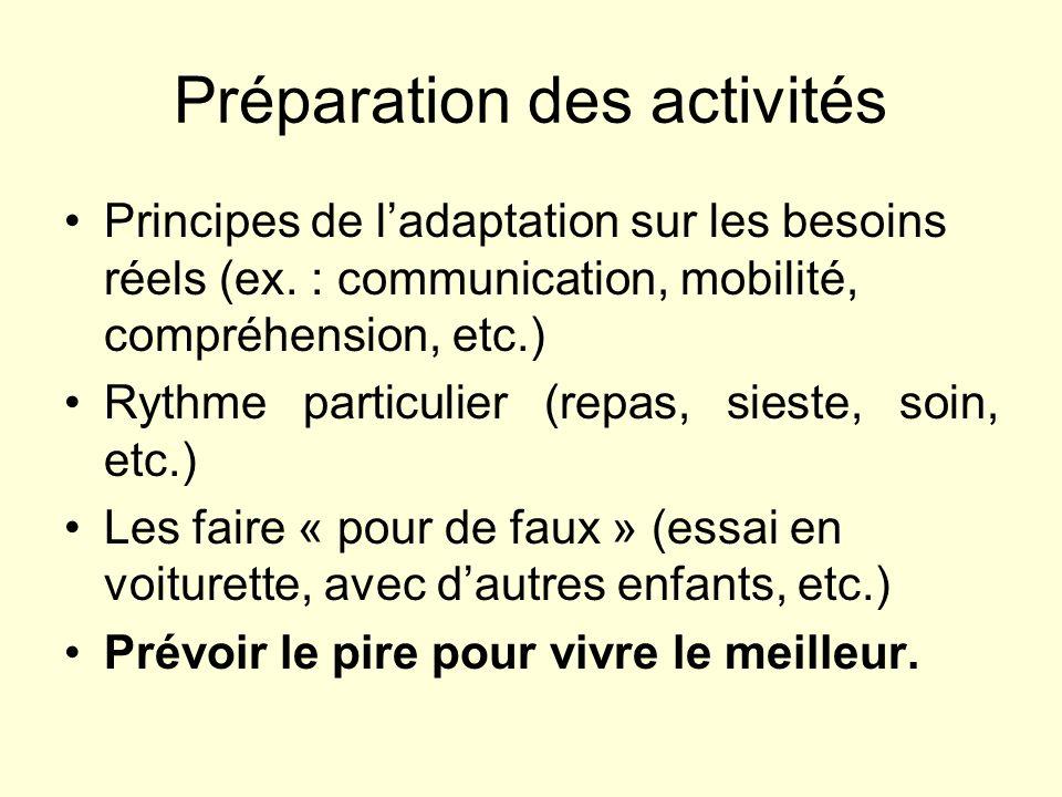 Préparation des activités Principes de ladaptation sur les besoins réels (ex. : communication, mobilité, compréhension, etc.) Rythme particulier (repa