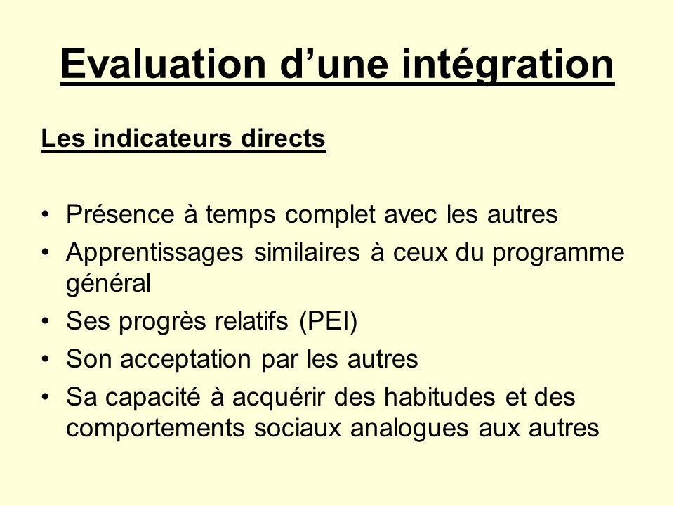 Evaluation dune intégration Les indicateurs directs Présence à temps complet avec les autres Apprentissages similaires à ceux du programme général Ses