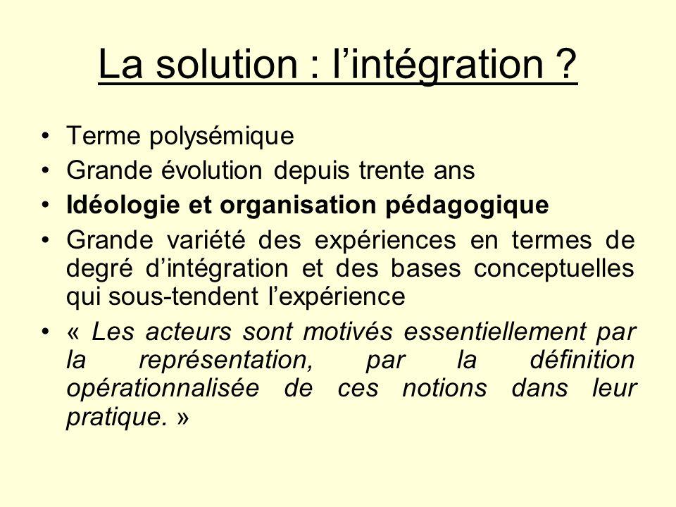 La solution : lintégration ? Terme polysémique Grande évolution depuis trente ans Idéologie et organisation pédagogique Grande variété des expériences