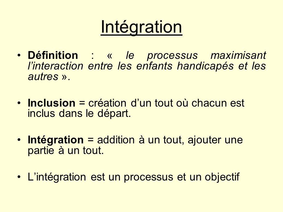 Intégration Définition : « le processus maximisant linteraction entre les enfants handicapés et les autres ». Inclusion = création dun tout où chacun