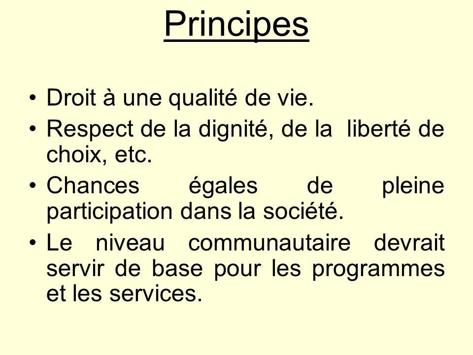 Principes Droit à une qualité de vie. Respect de la dignité, de la liberté de choix, etc. Chances égales de pleine participation dans la société. Le n