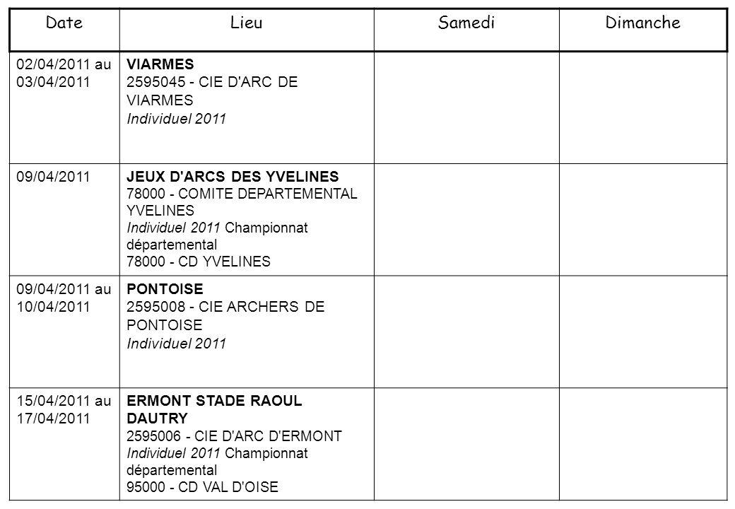 23/04/2011 au 25/04/2011 ERMONT STADE RAOUL DAUTRY 2595006 - CIE D ARC D ERMONT Individuel 2011 Championnat départemental 95000 - CD VAL D OISE 23/04/2011 au 24/04/2011 MENNECY 2591101 - CIE DES ARCHERS DE MENNECY-VILLEROY Individuel 2011 Championnat départemental 91000 - CD ESSONNE 08/05/2011 JEUX D ARC IDF 2595008 - CIE ARCHERS DE PONTOISE Individuel 2011 Championnat régional 2500 - COMITE REGIONAL ILE DE FRANCE DE TIR A L ARC 27/05/2011 au 02/06/2011 CIE D ARC DE VINCENNES VINCENNES 2694042 - 1ER CIE ARC VINCENNES Individuel 2011 DateLieuSamediDimanche