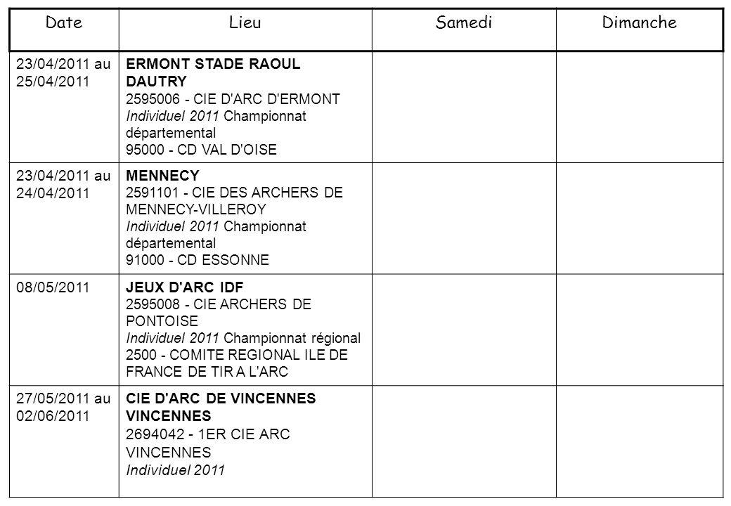 23/04/2011 au 25/04/2011 ERMONT STADE RAOUL DAUTRY 2595006 - CIE D'ARC D'ERMONT Individuel 2011 Championnat départemental 95000 - CD VAL D'OISE 23/04/
