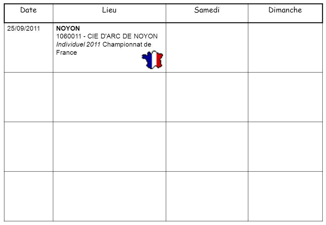 25/09/2011NOYON 1060011 - CIE D'ARC DE NOYON Individuel 2011 Championnat de France DateLieuSamediDimanche