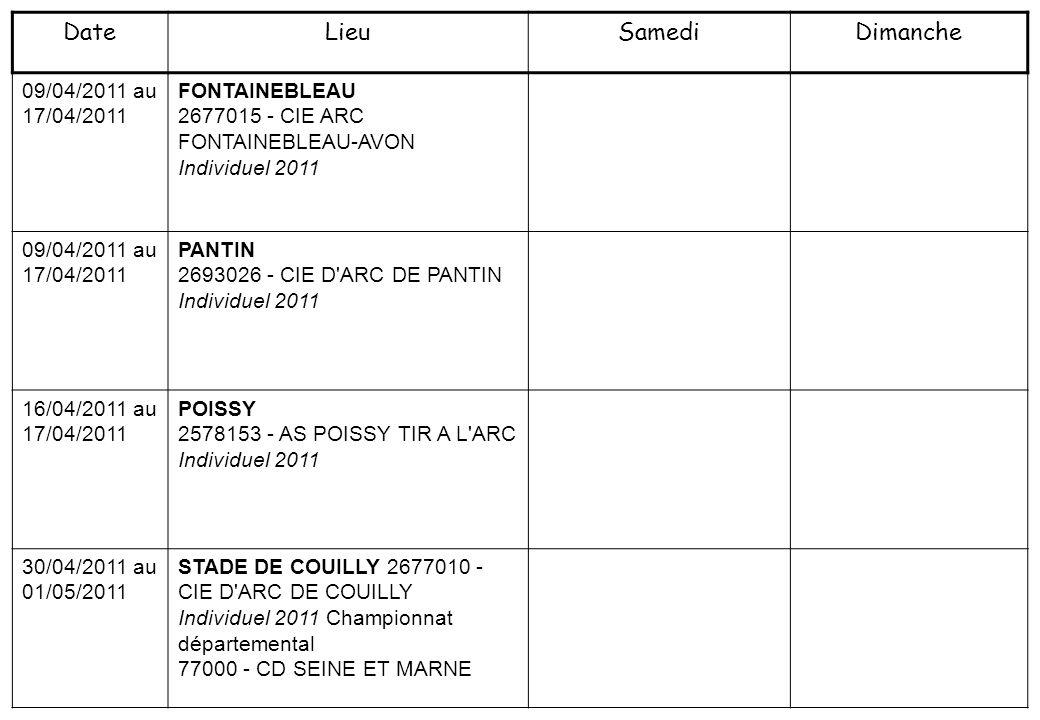 30/04/2011 au 01/05/2011 VILLIERS LE BEL 2595017 - COMPAGNIE D ARC VILLIERS LE BEL Individuel 2011 30/04/2011 au 01/05/2011 VILLIERS LE BEL 2595017 - COMPAGNIE D ARC VILLIERS LE BEL Individuel 2011 07/05/2011 au 08/05/2011 BUC 2578187 - CIE D ARC DE BUC Individuel 2011 Championnat départemental 78000 - CD YVELINES 07/05/2011 au 08/05/2011 COMPLEXE N.