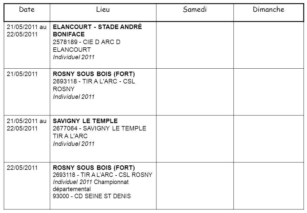 21/05/2011 au 22/05/2011 ELANCOURT - STADE ANDRÉ BONIFACE 2578189 - CIE D ARC D ELANCOURT Individuel 2011 21/05/2011ROSNY SOUS BOIS (FORT) 2693118 - T