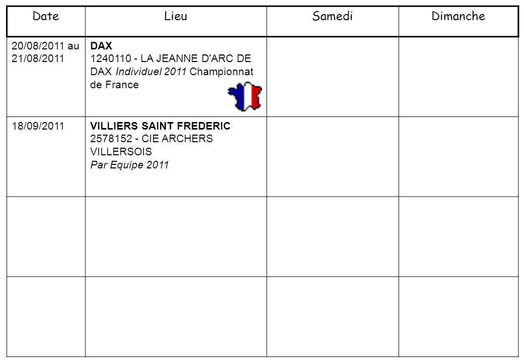 20/08/2011 au 21/08/2011 DAX 1240110 - LA JEANNE D'ARC DE DAX Individuel 2011 Championnat de France 18/09/2011VILLIERS SAINT FREDERIC 2578152 - CIE AR