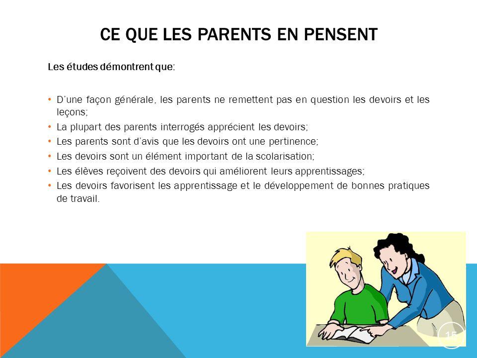 CE QUE LES PARENTS EN PENSENT Les études démontrent que: Dune façon générale, les parents ne remettent pas en question les devoirs et les leçons; La p