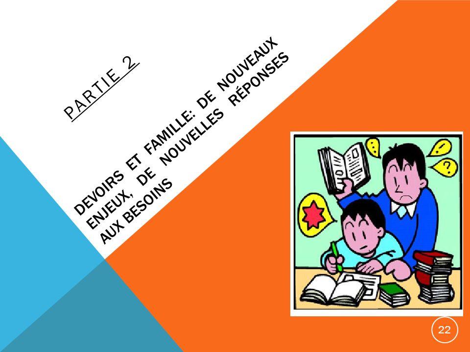 DEVOIRS ET FAMILLE: DE NOUVEAUX ENJEUX, DE NOUVELLES RÉPONSES AUX BESOINS PARTIE 2 22