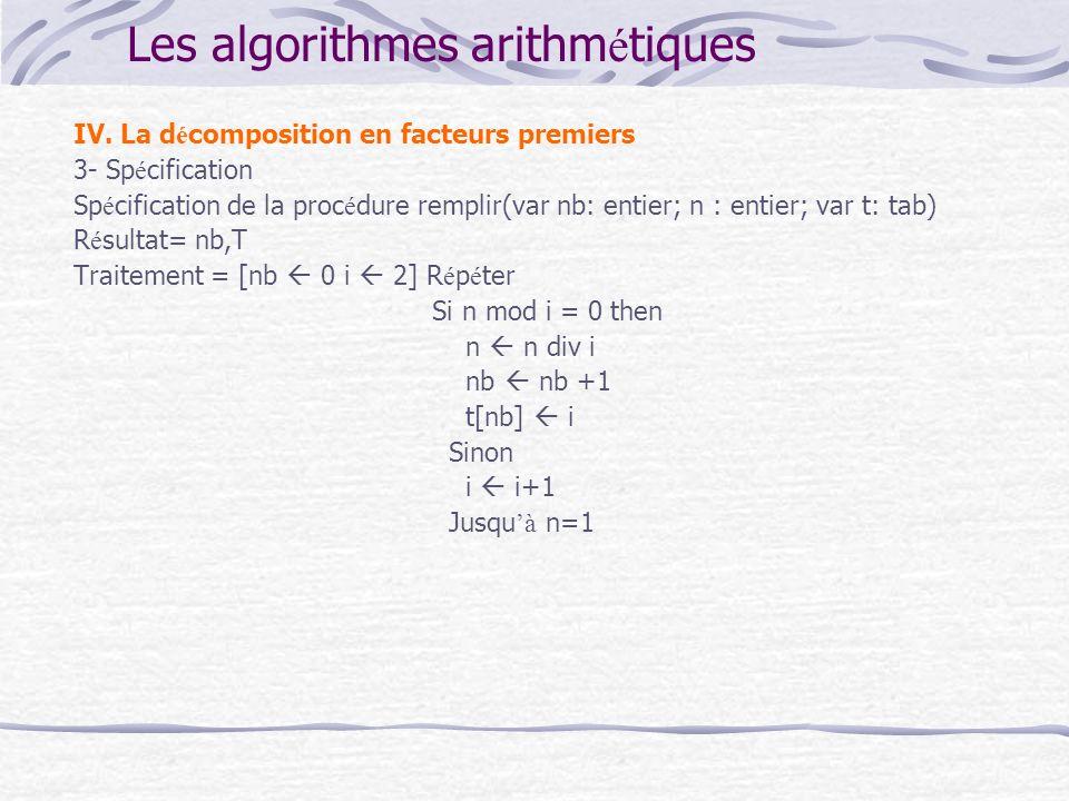 Les algorithmes arithm é tiques IV. La d é composition en facteurs premiers 3- Sp é cification Sp é cification de la proc é dure remplir(var nb: entie