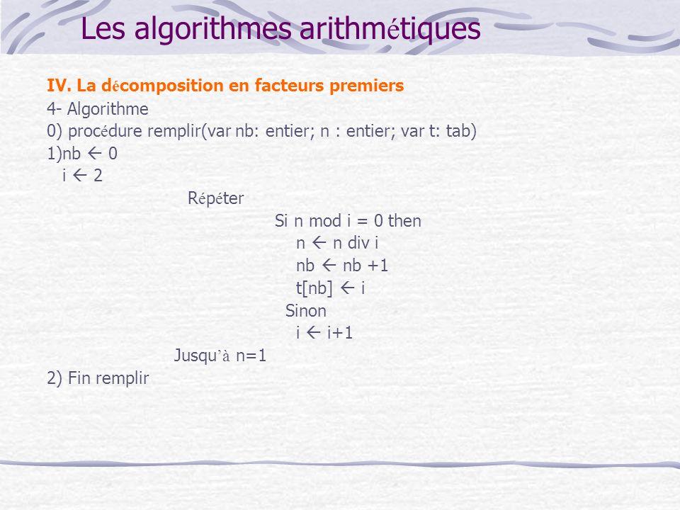 Les algorithmes arithm é tiques IV. La d é composition en facteurs premiers 4- Algorithme 0) proc é dure remplir(var nb: entier; n : entier; var t: ta