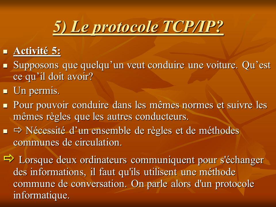 5) Le protocole TCP/IP? Activité 5: Activité 5: Supposons que quelquun veut conduire une voiture. Quest ce quil doit avoir? Supposons que quelquun veu