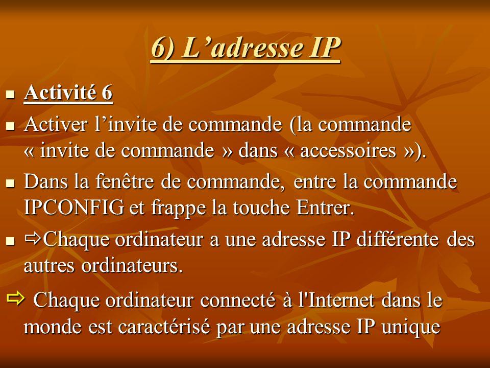 6) Ladresse IP Activité 6 Activité 6 Activer linvite de commande (la commande « invite de commande » dans « accessoires »). Activer linvite de command