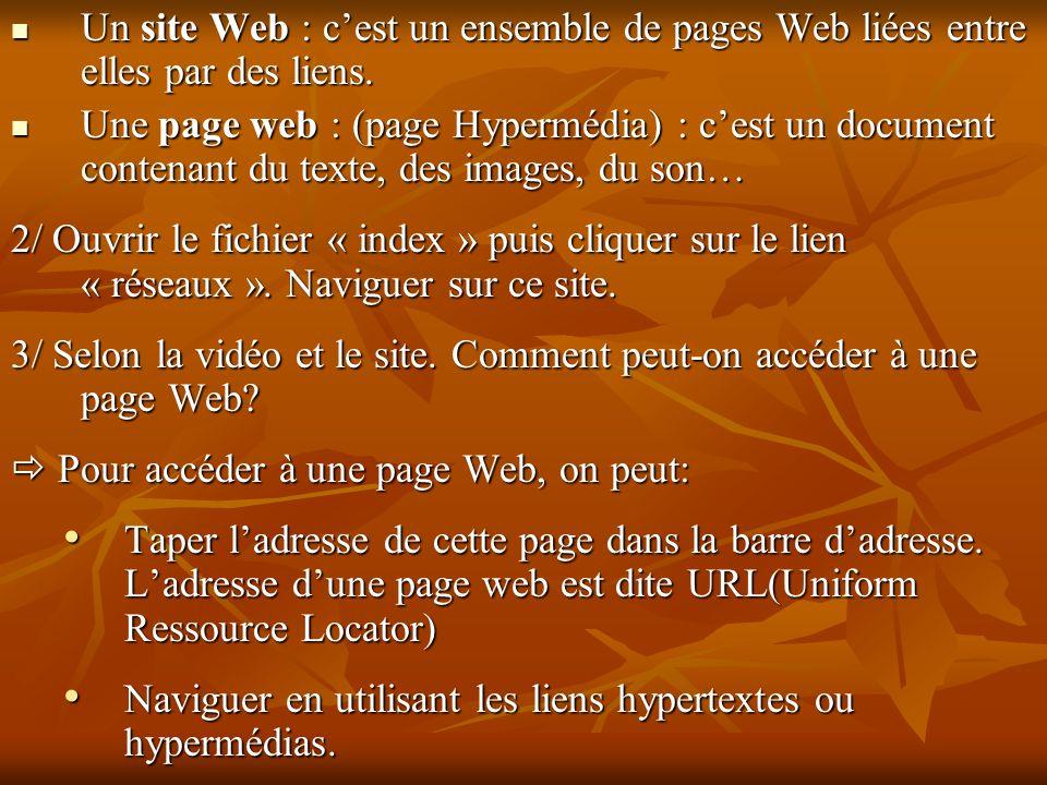 Un site Web : cest un ensemble de pages Web liées entre elles par des liens. Un site Web : cest un ensemble de pages Web liées entre elles par des lie