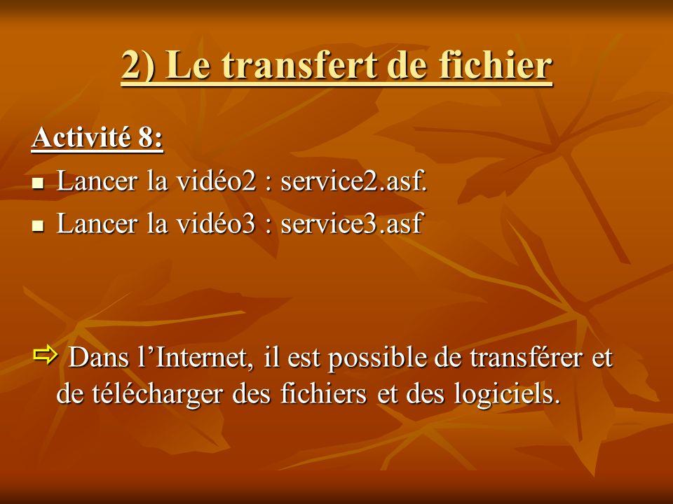 2) Le transfert de fichier Activité 8: Lancer la vidéo2 : service2.asf. Lancer la vidéo2 : service2.asf. Lancer la vidéo3 : service3.asf Lancer la vid
