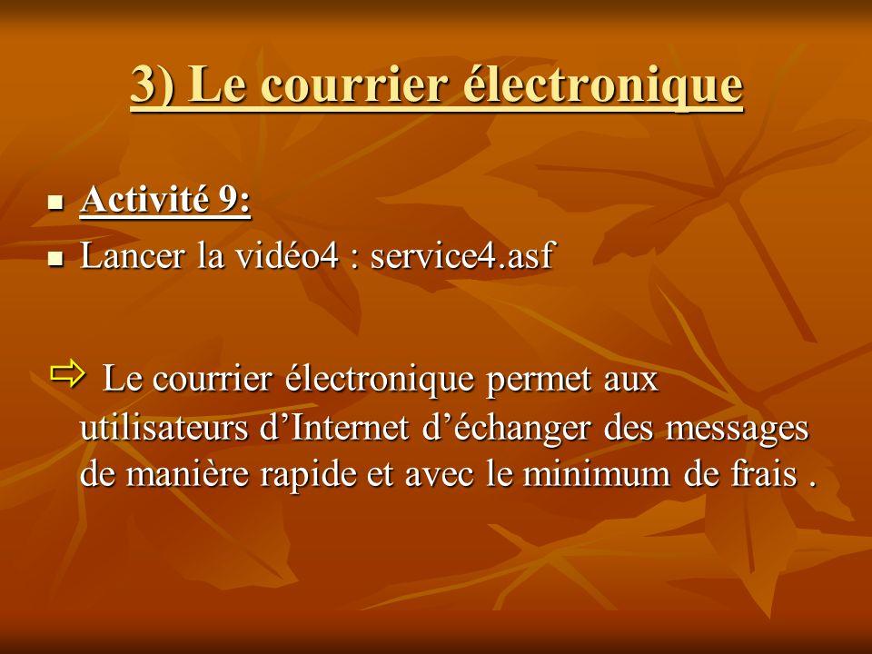 3) Le courrier électronique Activité 9: Activité 9: Lancer la vidéo4 : service4.asf Lancer la vidéo4 : service4.asf Le courrier électronique permet au