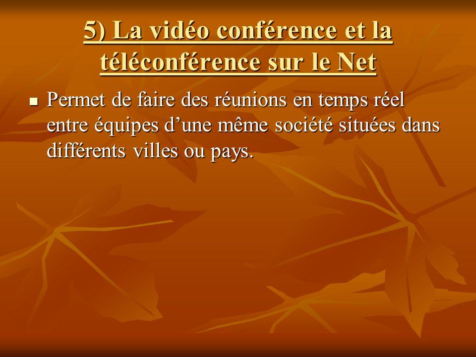 5) La vidéo conférence et la téléconférence sur le Net Permet de faire des réunions en temps réel entre équipes dune même société situées dans différe