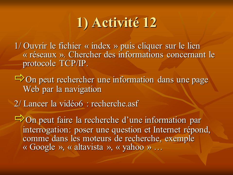 1) Activité 12 1/ Ouvrir le fichier « index » puis cliquer sur le lien « réseaux ». Chercher des informations concernant le protocole TCP/IP. On peut