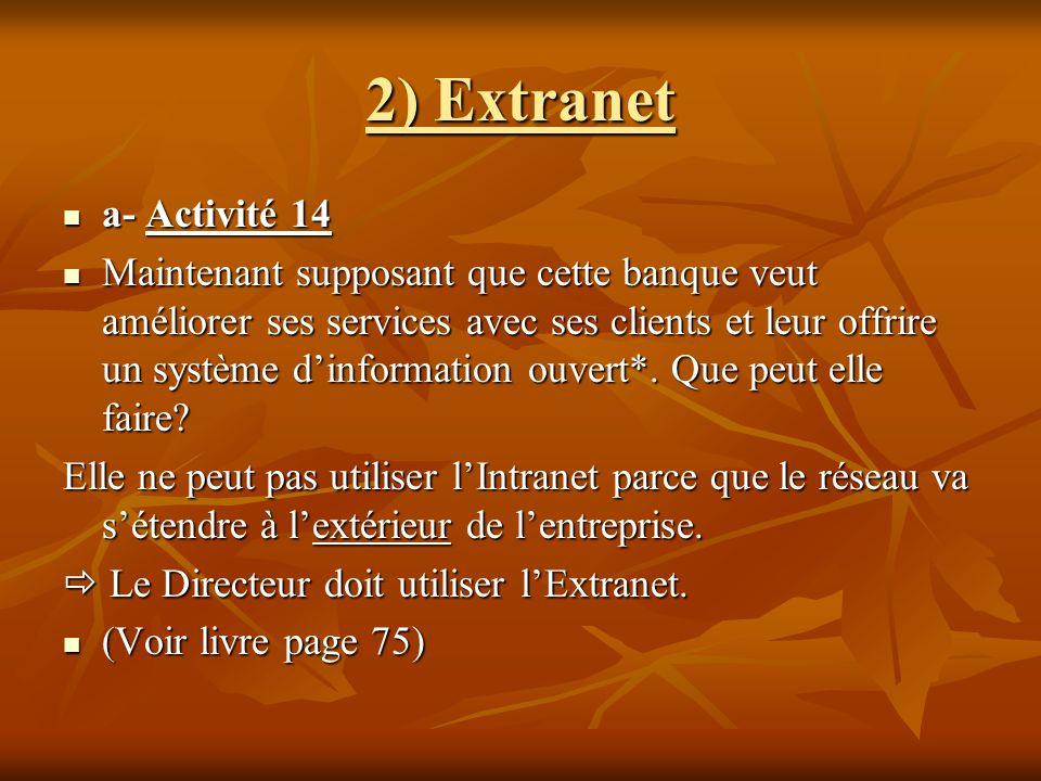 2) Extranet a- Activité 14 a- Activité 14 Maintenant supposant que cette banque veut améliorer ses services avec ses clients et leur offrire un systèm