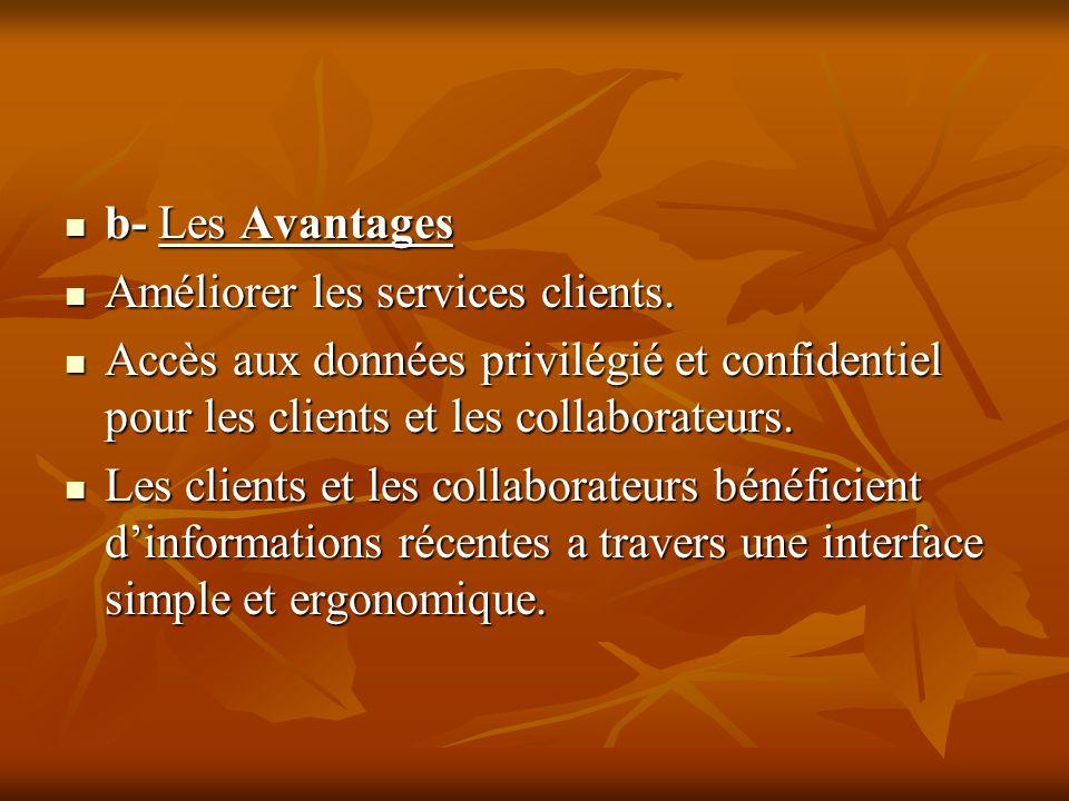 b- Les Avantages b- Les Avantages Améliorer les services clients. Améliorer les services clients. Accès aux données privilégié et confidentiel pour le