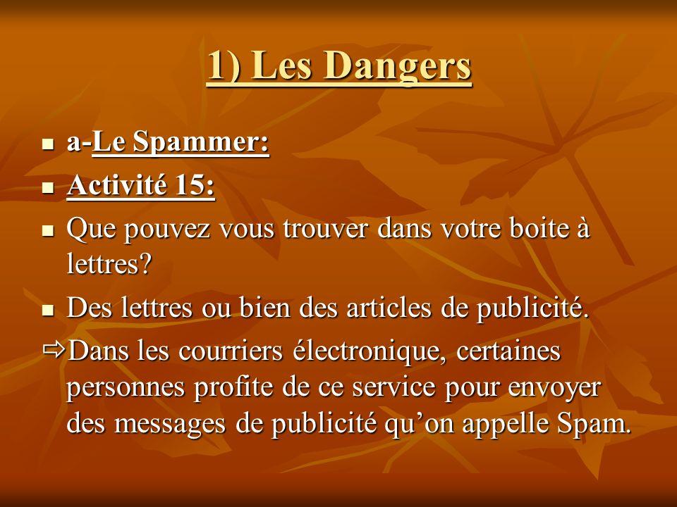 1) Les Dangers a-Le Spammer: a-Le Spammer: Activité 15: Activité 15: Que pouvez vous trouver dans votre boite à lettres? Que pouvez vous trouver dans