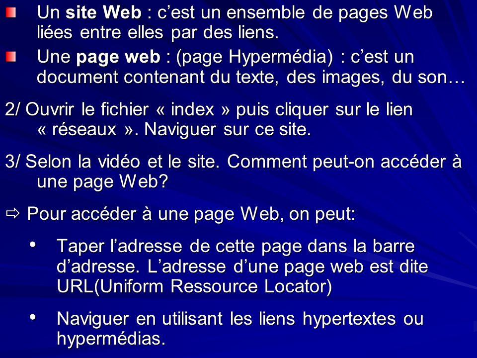 Un site Web : cest un ensemble de pages Web liées entre elles par des liens. Une page web : (page Hypermédia) : cest un document contenant du texte, d