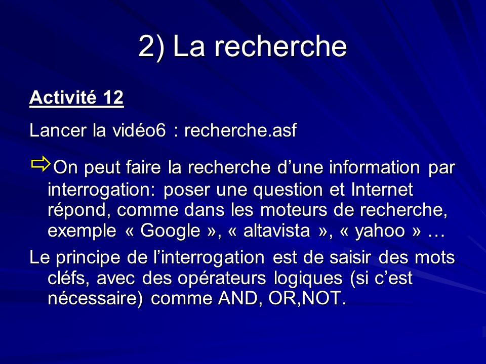 2) La recherche Activité 12 Lancer la vidéo6 : recherche.asf On peut faire la recherche dune information par interrogation: poser une question et Inte