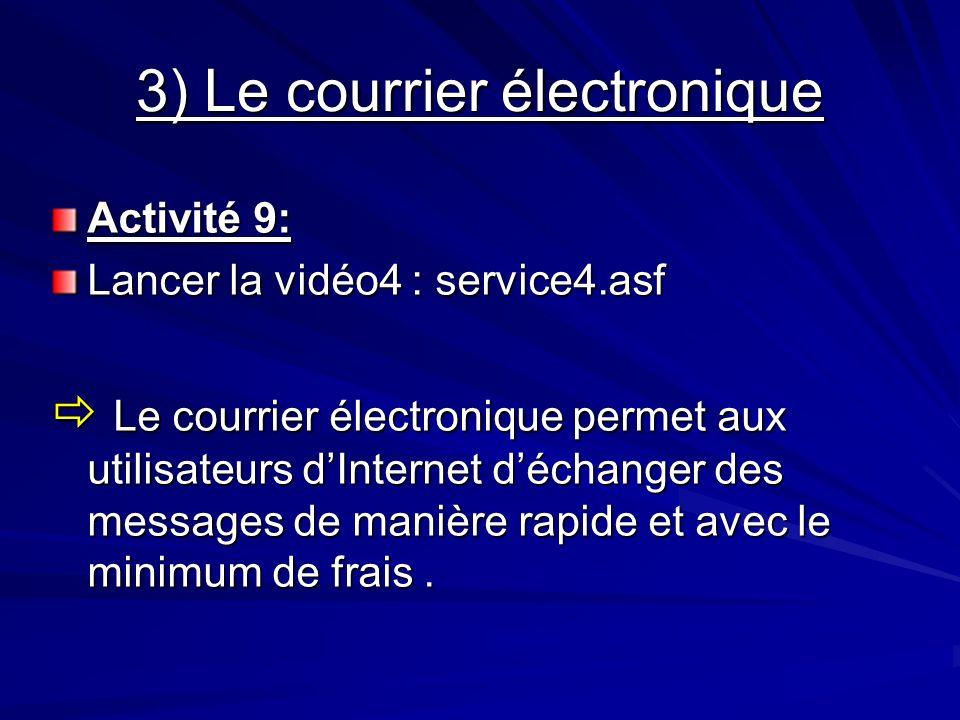 3) Le courrier électronique Activité 9: Lancer la vidéo4 : service4.asf Le courrier électronique permet aux utilisateurs dInternet déchanger des messa