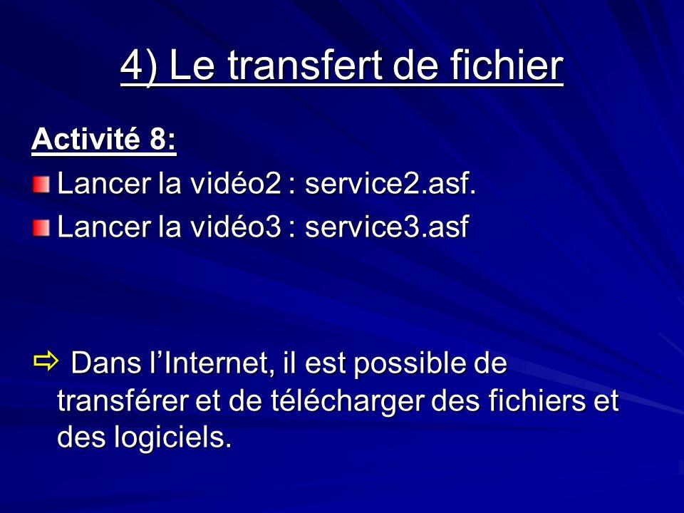 4) Le transfert de fichier Activité 8: Lancer la vidéo2 : service2.asf. Lancer la vidéo3 : service3.asf Dans lInternet, il est possible de transférer