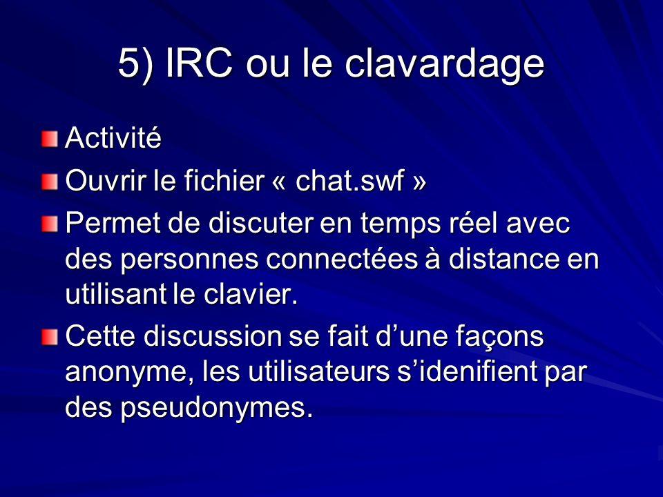 5) IRC ou le clavardage Activité Ouvrir le fichier « chat.swf » Permet de discuter en temps réel avec des personnes connectées à distance en utilisant