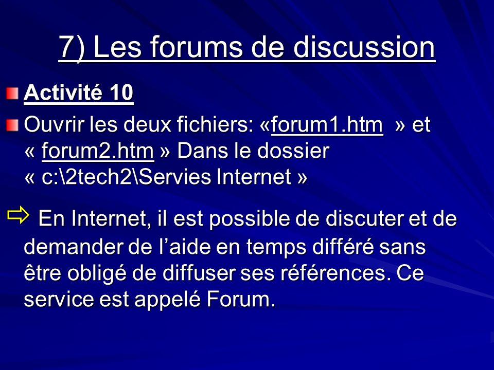 7) Les forums de discussion Activité 10 Ouvrir les deux fichiers: «forum1.htm » et « forum2.htm » Dans le dossier « c:\2tech2\Servies Internet » En In