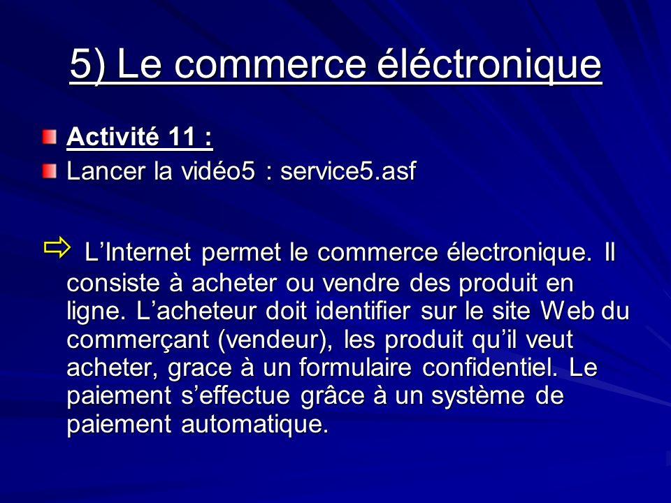 5) Le commerce éléctronique Activité 11 : Lancer la vidéo5 : service5.asf LInternet permet le commerce électronique. Il consiste à acheter ou vendre d