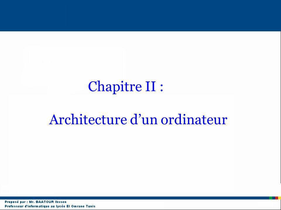 Architecture dun ordinateur Chapitre II :