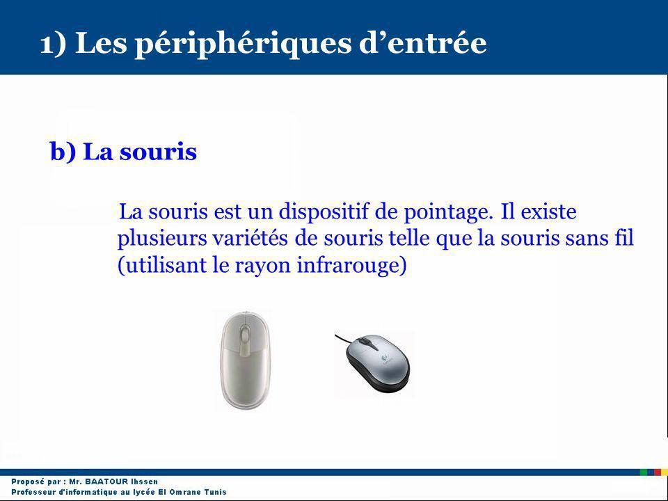 1) Les périphériques dentrée b) La souris La souris est un dispositif de pointage. Il existe plusieurs variétés de souris telle que la souris sans fil