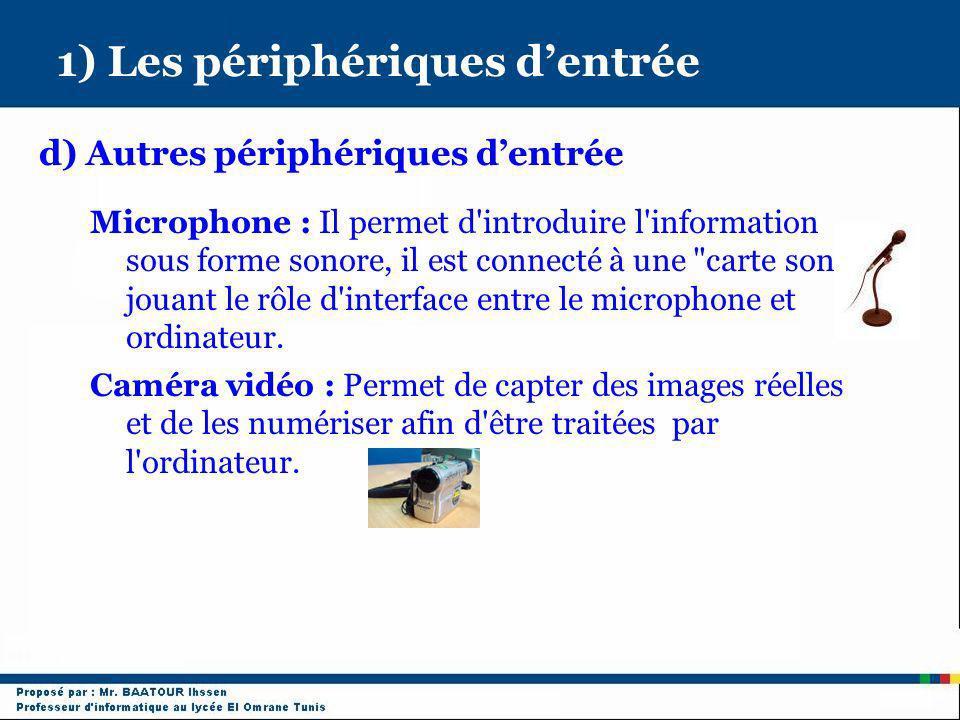 1) Les périphériques dentrée d) Autres périphériques dentrée Microphone : Il permet d'introduire l'information sous forme sonore, il est connecté à un