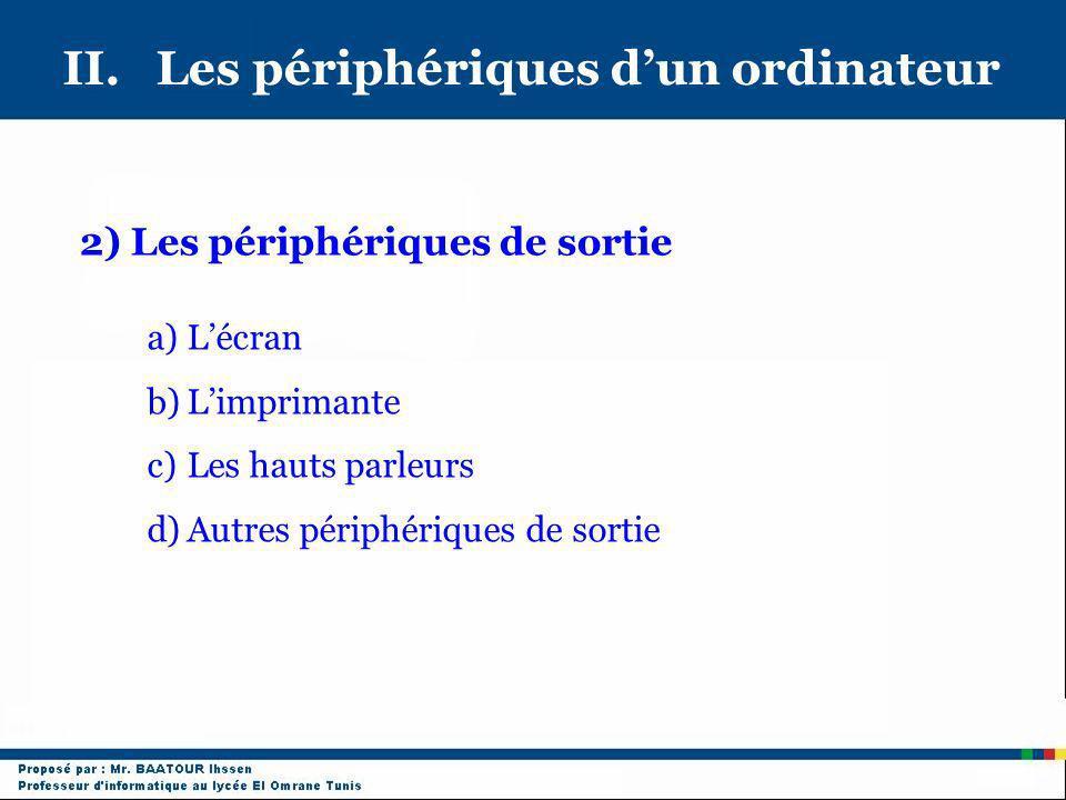 II. Les périphériques dun ordinateur 2) Les périphériques de sortie a)Lécran b)Limprimante c)Les hauts parleurs d)Autres périphériques de sortie