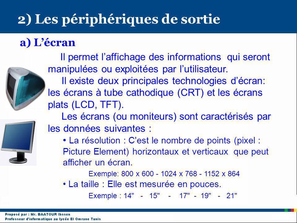 2) Les périphériques de sortie a) Lécran Il permet laffichage des informations qui seront manipulées ou exploitées par lutilisateur. Il existe deux pr