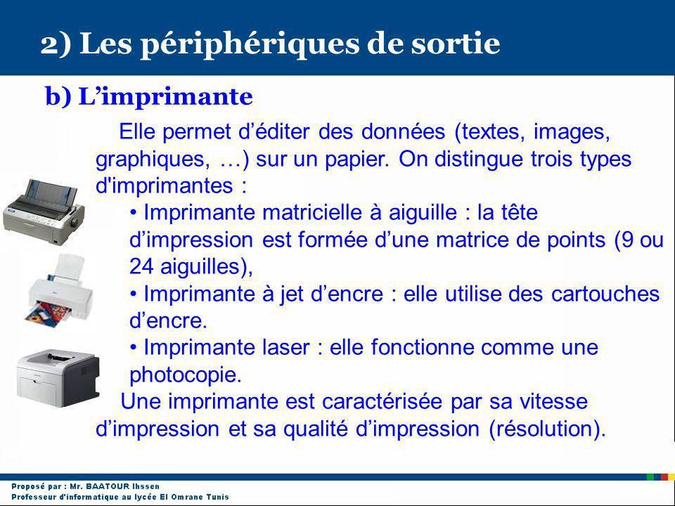 2) Les périphériques de sortie b) Limprimante Elle permet déditer des données (textes, images, graphiques, …) sur un papier. On distingue trois types