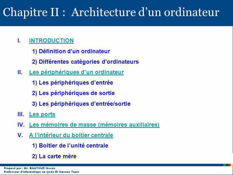 Chapitre II : Architecture dun ordinateur I.INTRODUCTIONINTRODUCTION 1) Définition d'un ordinateur 2) Différentes catégories d'ordinateurs II.Les péri