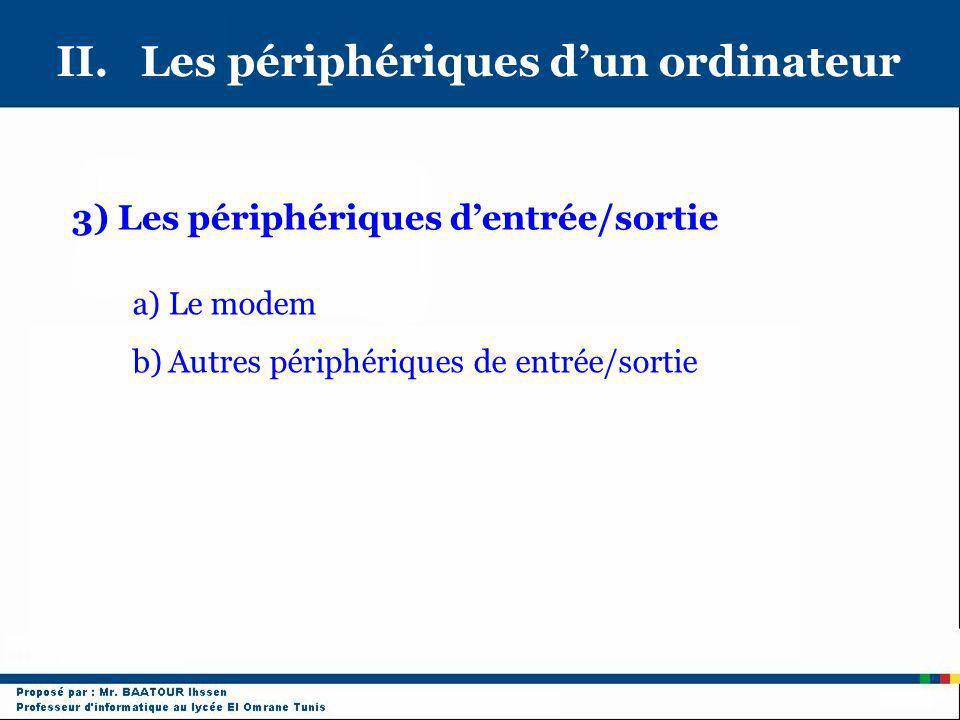 II. Les périphériques dun ordinateur 3) Les périphériques dentrée/sortie a)Le modem b)Autres périphériques de entrée/sortie